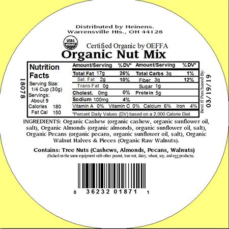 Heinens Organic Nut Mix Nutrition Facts Label
