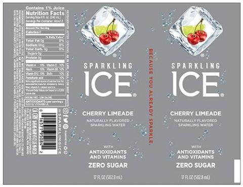 SPARKLING ICE CHERRY LIMEADE NATURALLY FLAVORED SPARKLING WATER 17 FL OZ (502.8 mL) LABEL