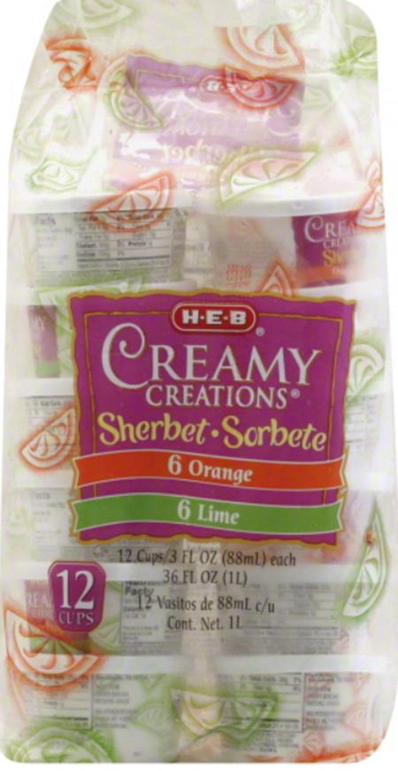 Product image, Creamy Creations Orange Lime Sherbet Cup 12CT/3OZ