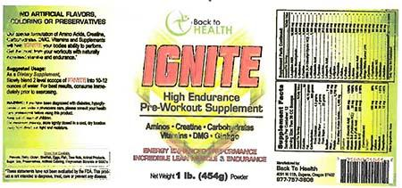 Label, Back to Health Pre-Workout Supplement