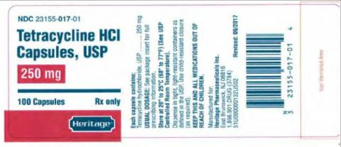 """Tetracycline HCl Capsules 250mg"""
