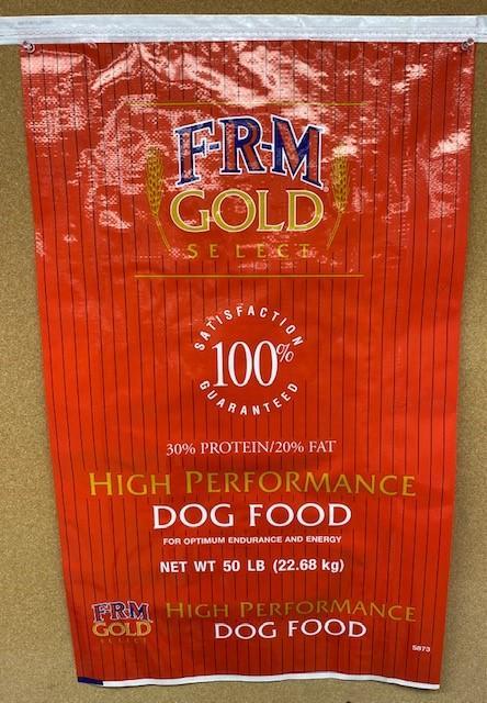 "11. ""FRM Gold High Performance Dog Food, 50 lb"""