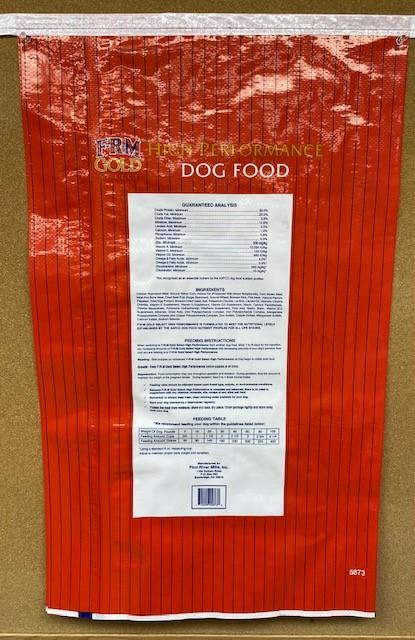 """12. """"FRM Gold High Performance Dog Food, back label"""""""