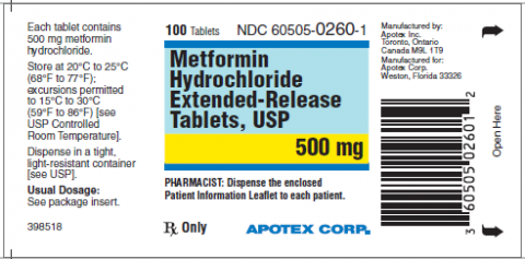 Product label Apotex Corp Metformin Hydrocholride Extended-Release Tablets, USP 500 mg
