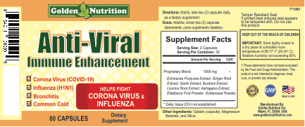 Label: Golden Nutrition, Anti-Viral Immune Enhancement, 60 Capsules, Dietary Supplement