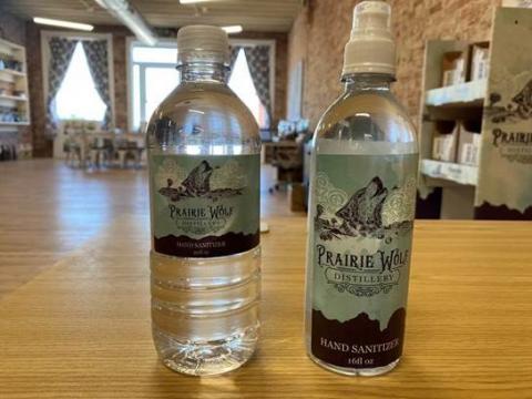 Prairie Wolf Distillery Hand Sanitizer front label