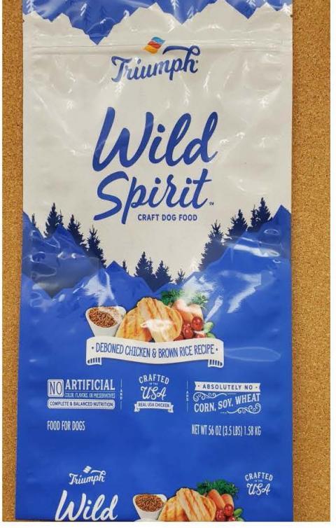 Front Image – Triumph Wild Spirit Craft Dog Food Deboned Chicken & Brown Rice Recipe 3.5 lbs.