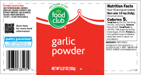 Food Club, Garlic Powder, 5.37 oz.