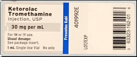 Ketorolac Tromethamine Injection, USP, 30 mg/mL, 1 ml single use vial
