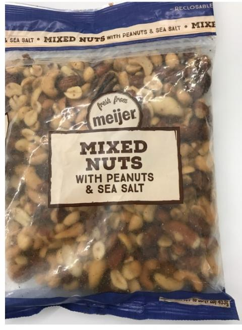 """Label, Meijer Mixed Nuts"""