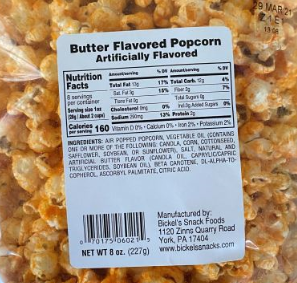 Product image of labeling Nutrition Facts, Ingredients, UPC, Butter Flavored Popcorn