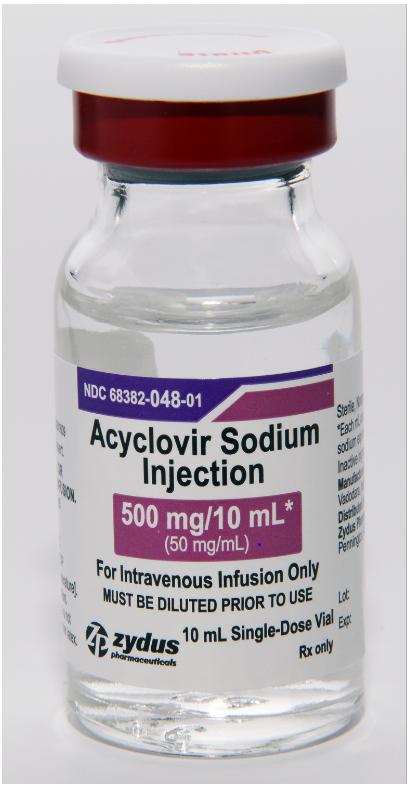 Acyclovir Sodium Injection, 500 mg/10mL vial
