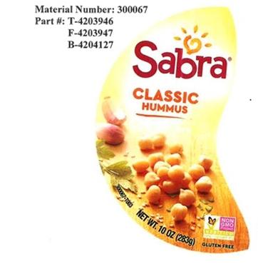 Top label, Sabra Classic Hummus, 10 oz.