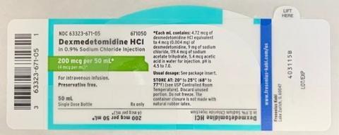 Box label, Dexmedetomidine Hydrochloride injection