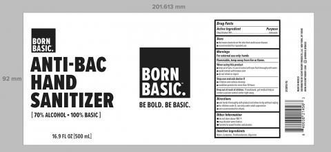 Born Basic Anti-Bac Hand Sanitizer 70% Alcohol, 16.9 fl oz