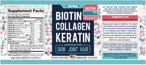 Product label Bloommy Biotin Collagen Keratin Capsules for Skin Join Hair 60 capsules