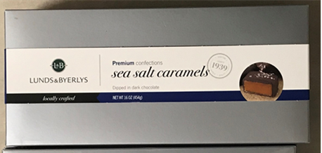Lund's and Byerly's sea salt caramels, Net Wt. 16 oz, front label
