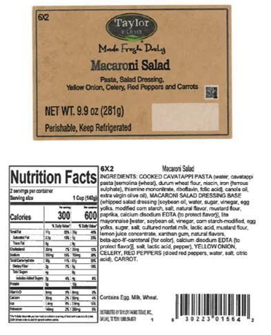 Label, Taylor Farms Macaroni Salad