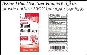 Product label front and back, Assured Hand Sanitizer Vitamin E 8 fl oz plastic bottles; UPC 639277928597