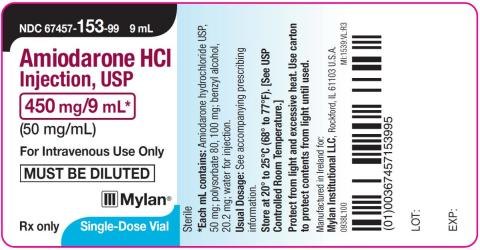 Vial label, Amiodarone HCl Injection