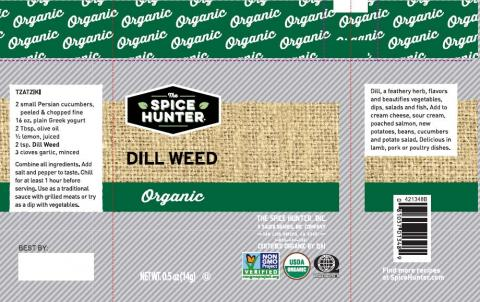Label example, The Spice Hunter Dill Weed