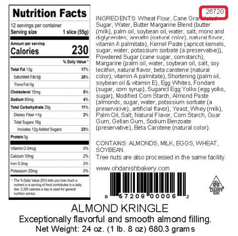 Back label of almond kringle