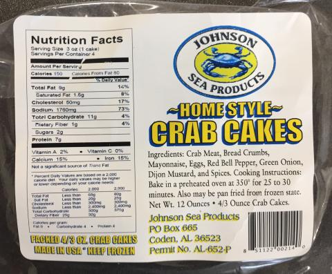 Johnson Sea Products Home Style Crab Cakes labeling