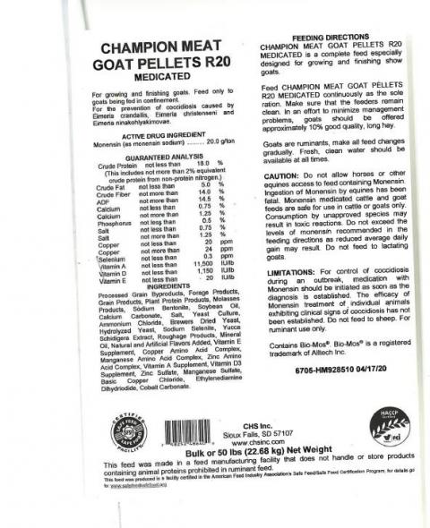 Product label, CHS Inc. Champion Meat Goat Pellets R20 Medicated.