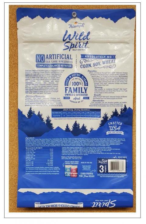 Back Image – Triumph Wild Spirit Craft Dog Food - Ingredient Statement