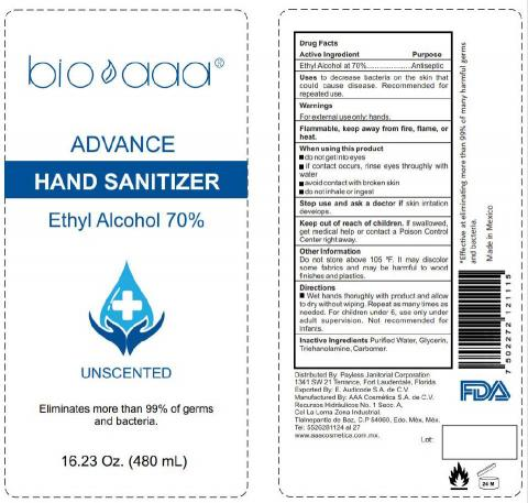 Product Label for bio aaa Advance Hand Sanitizer