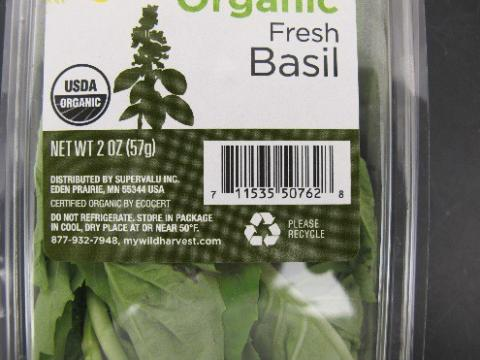 Organic Fresh Basil, 2 oz, Label example