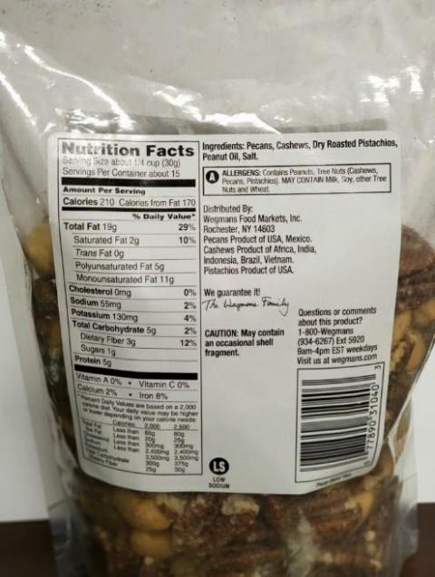 Wegmans Pecan Blend Nutrition Facts, back label