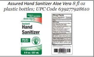 Product label front and back, Assured Hand Sanitizer Aloe Vera 8 fl oz plastic bottles; UPC 639277928610