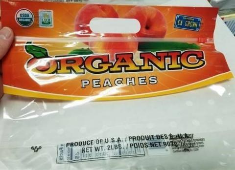 Package of Wawona Organic Peaches