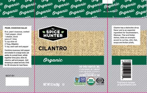 Label example, The Spice Hunter Cilantro
