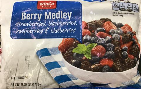 Front label, WinCo Foods Frozen Berry Medley, 16 oz.
