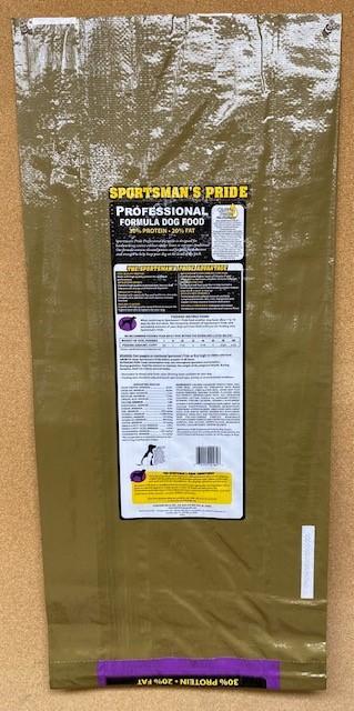 """2. """"Sportsman's Pride, Professional Formula Dog Food, back label"""""""