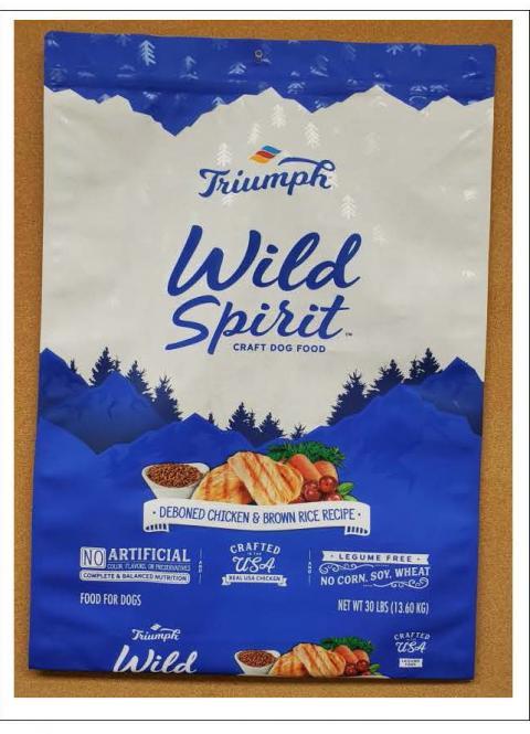 Front Image - Triumph Wild Spirit Craft Dog Food Deboned Chicken & Brown Rice Recipe 30 lbs.