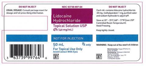 Lidocaine Hydrochloride Topical Solution USP 4% (40 mg/mL), 50 mL, NDC 63739-997-64