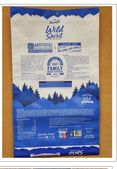 Back Image – Triumph Wild Spirit Craft Dog Food – Ingredient Statement
