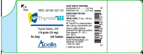 NPThyroid15, Thyroid Tablets, USP, ¼ grain (15 mg), 100 tablets, front label