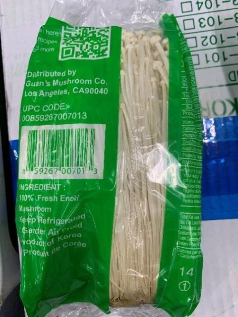Back Label – ENOKI MUSHROOMS INGREDIENT LABEL