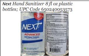 Product label front and back, Next Hand Sanitizer 8 fl oz plastic bottles; UPC 650240053573