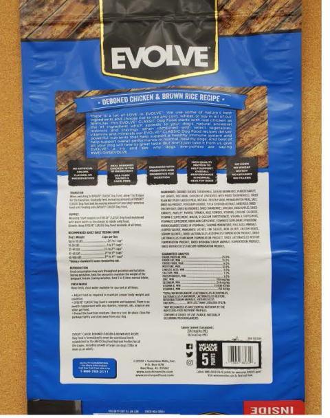 Back Image – Evolve Classic Super Premium Food – Ingredient Statement