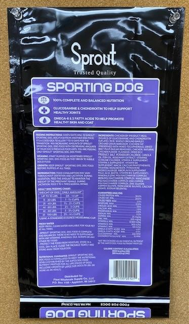"""4. """"Sprout, Sporting Dog, back label"""""""