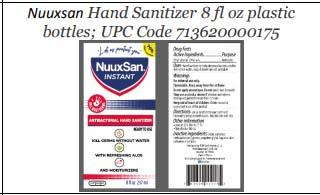Product label front and back, Nuuxsan Hand Sanitizer 8 fl oz plastic bottles; UPC 713620000175