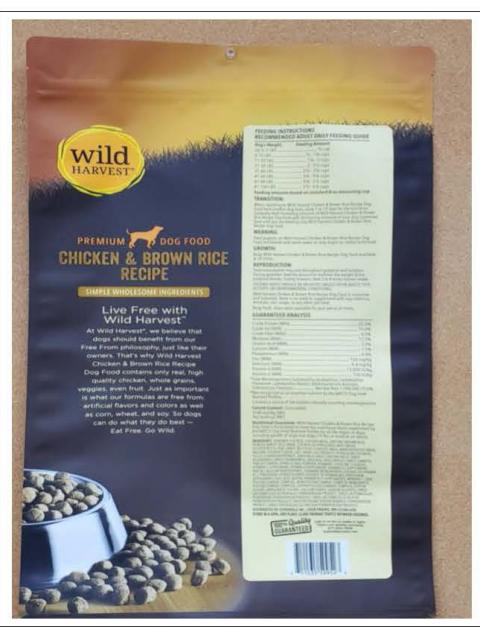 Back Image – Wild Harvest Premium Dog Food – Ingredient Statement