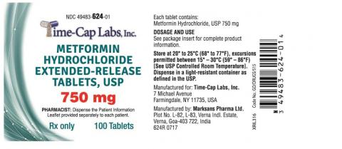 Metformin Hydrochloride Extended-Release Tablets, USP 750mg Pack size: 100 Tablets