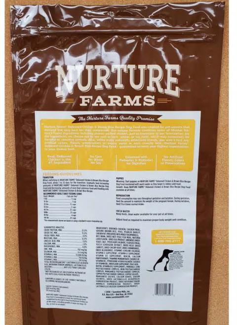Back Image – Nature Farms Natural Dog Food – Ingredient Statement