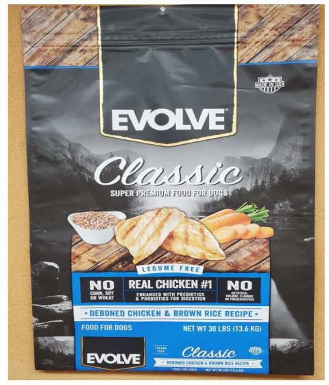 Front Image – Evolve Classic Super Premium Food for Dogs Deboned Chicken & Brown Rice Recipe 30 lbs.